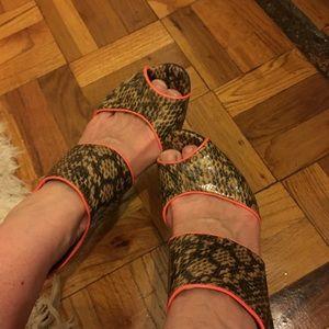 BCBG Snakeskin heels with orange accents